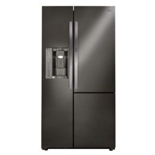 Black, stainless steel refrigerator with adjustable shelves.