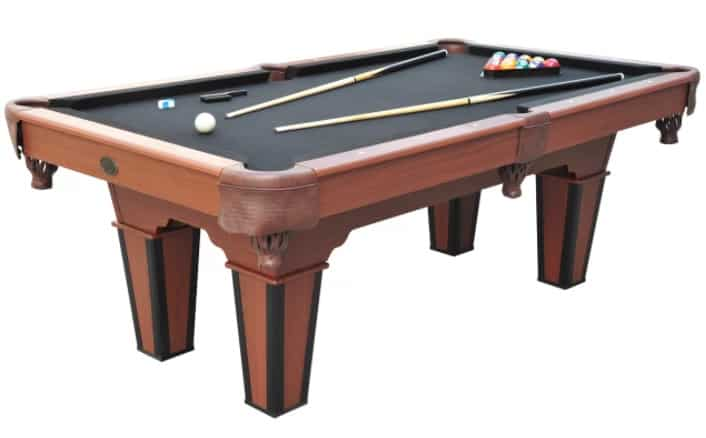 Standard pool table in black with plastic frames.