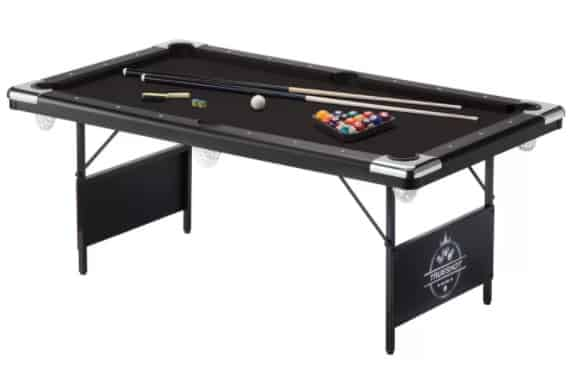 All-black pool table with a wooden surface.