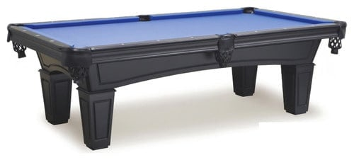 Modern pool table with a matte black finish,