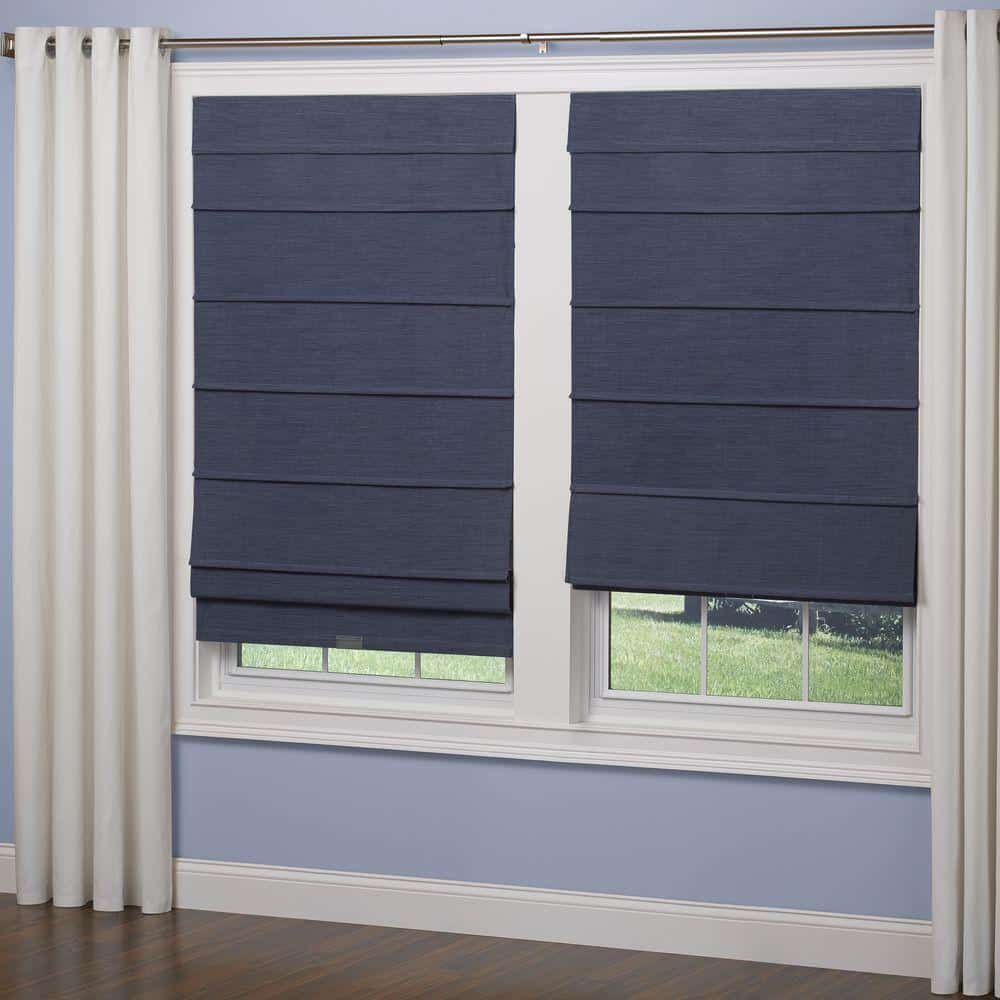 Roman shades in a navy blue, cordless fabric.