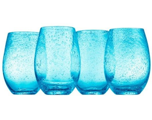 Blue bar glass with detailed, droplet designs.