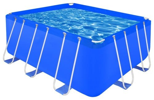 Blue, steel-framed chlorine pool in a traditional style.