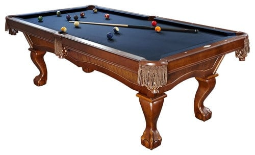 Traditional pool table with blue woolen cloth.