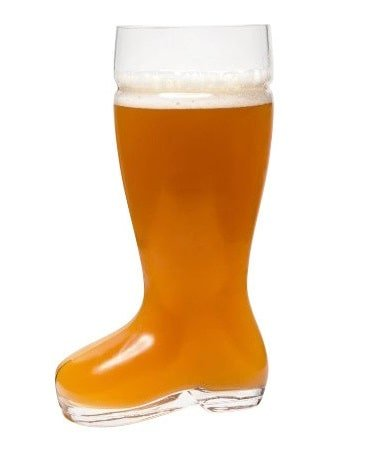 A contemporary, boot-shaped beer glass.