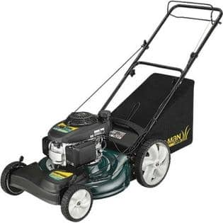 Self-propelled lawn mower with high rear and mulching capabilities.