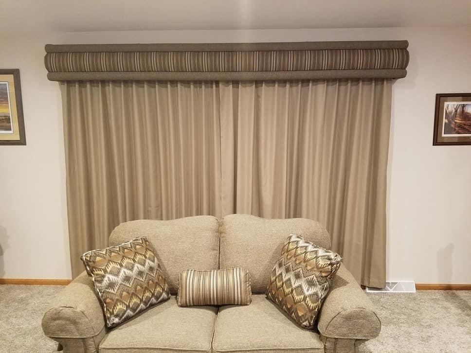 Avalon-style window cornice kit in a dark beige shade.