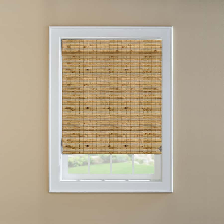Window shade made out of woven natural bamboo.