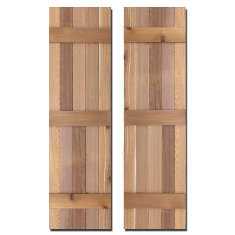 A pair of handcrafted, natural cedar shutters.