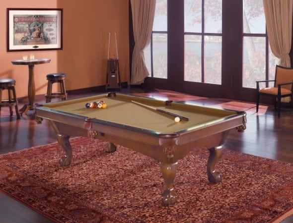 Eco-friendly pool table made out of oak wood.