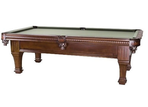 Standard, brown pool table with accessory drawers.
