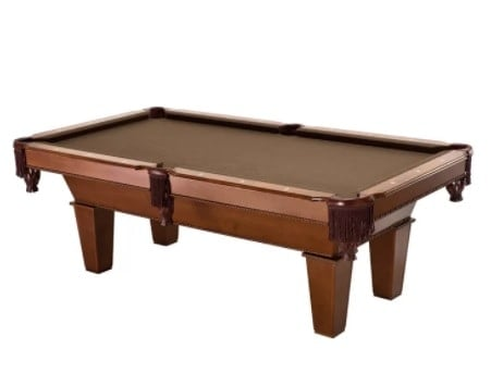 Pool table with drop pockets.