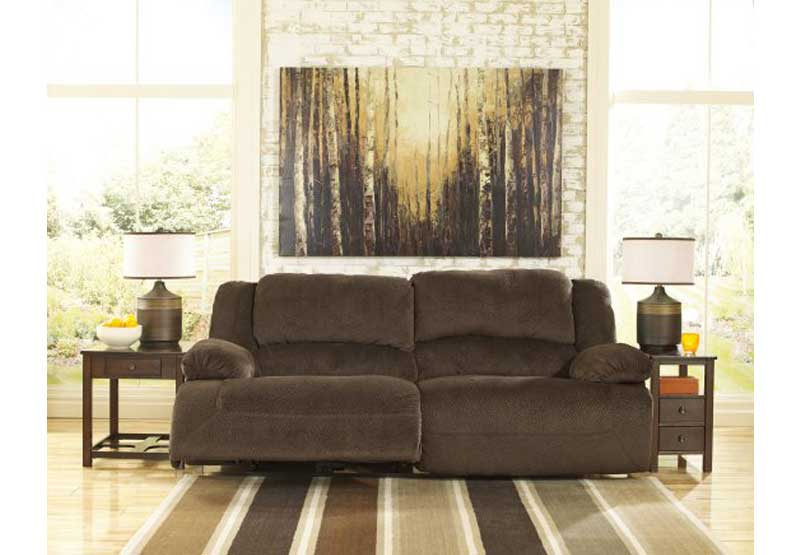 Brown sofa with a power recline mechanism