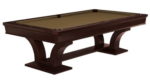 Tropical pool table in island and brown tones.