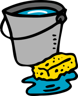 A bucket and a sponge for cleaning floors.