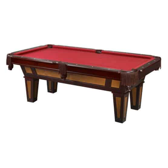 Pool table with burgundy wool cloth.
