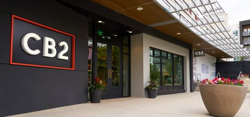 The exterior of a CB2 outlet in Texas.