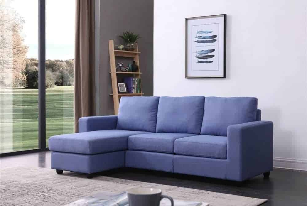 Home convertible sectional sofa with left or right facing design and soft linen fabric upholstery.
