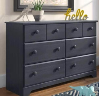 A six-drawer dresser.