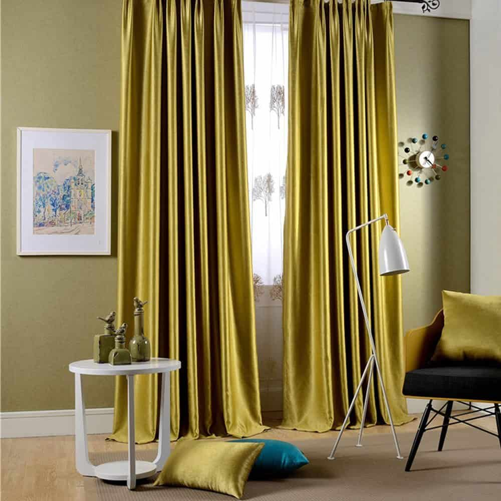 Bright gold, single-panel drape with a velvet finish.