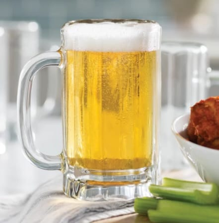 Clear tankard with a thick and durable glass material.