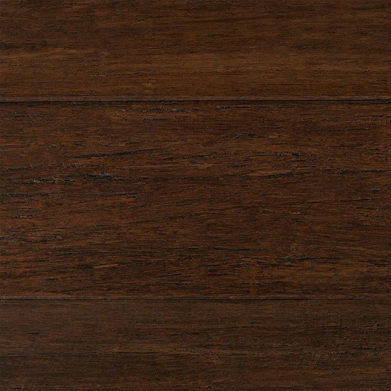Engineered bamboo flooring in a dark brown shade.