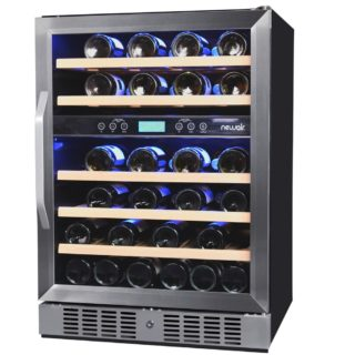 Sleek wine cooler with wooden drawers.
