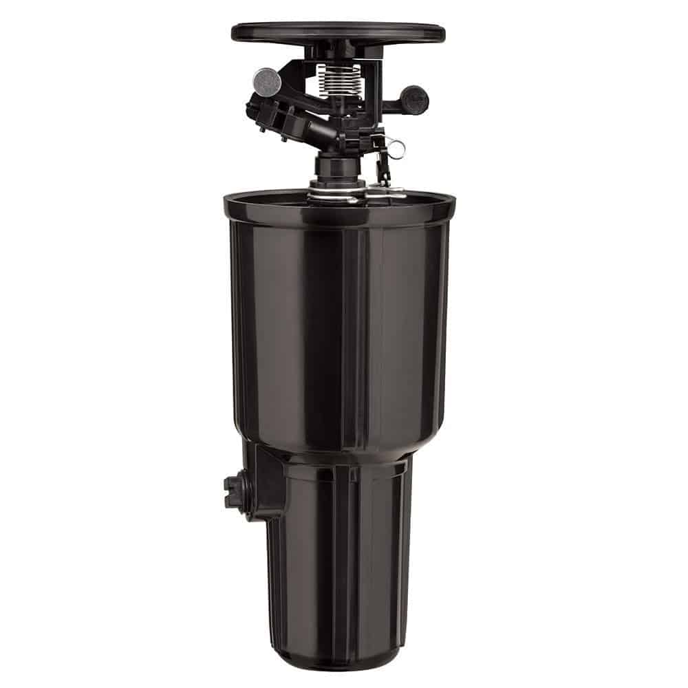 Super jet pulse pop-up impact sprinkler spray head with flow-thru design and fully adjustable spray pattern.