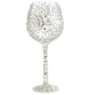 A wine glass with a contemporary design.