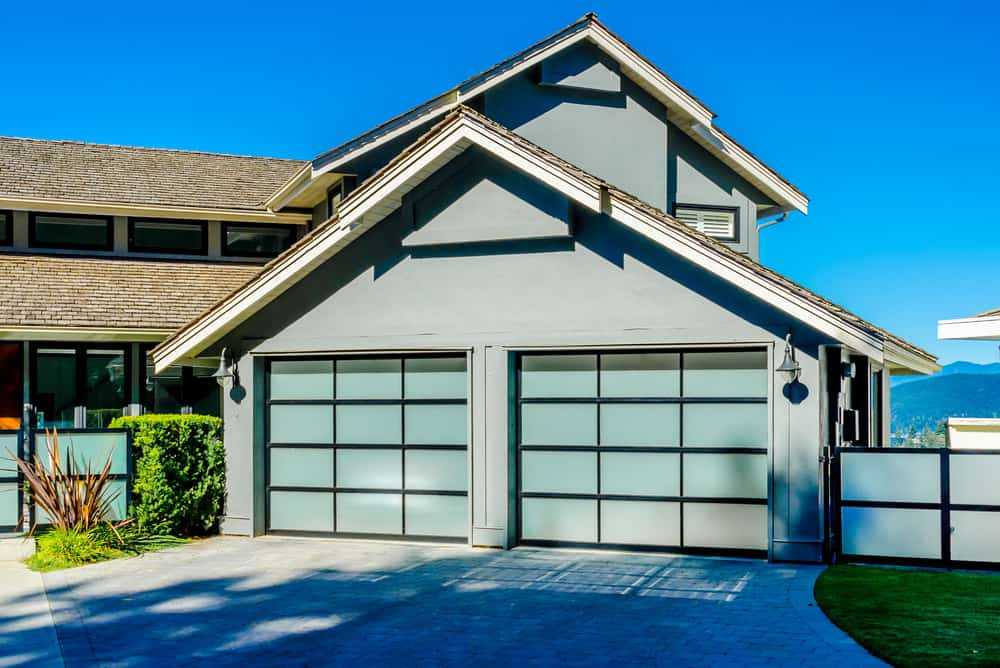 Contemporary garage door on 2-bay garage