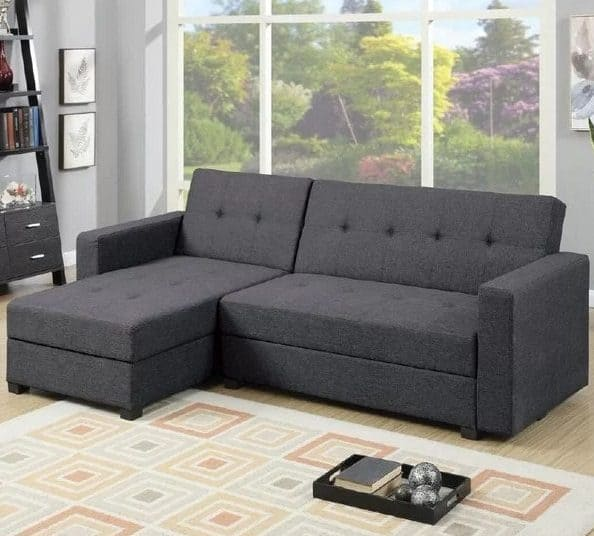 Sleeper sectional sofa with polyfiber upholstery and under-seat-storage feature.