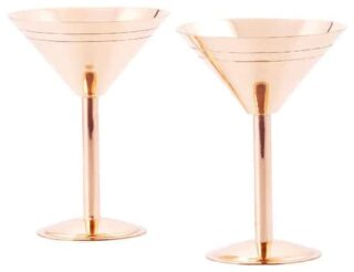 Bar glasses with a mid-century style and a copper finish.