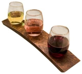 Bar glasses with a craftsman-style finish.