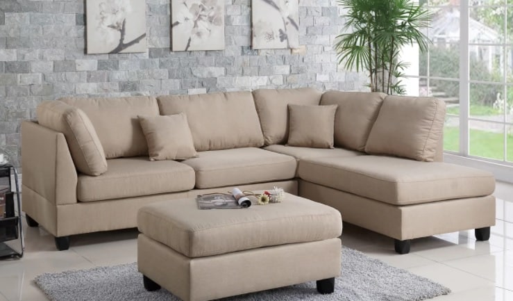 Reversible sectional sofa with medium firmness.