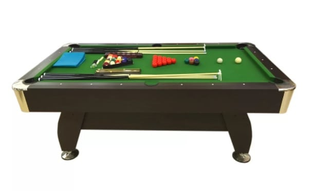 Victorian pool table in a dark cherry finish.