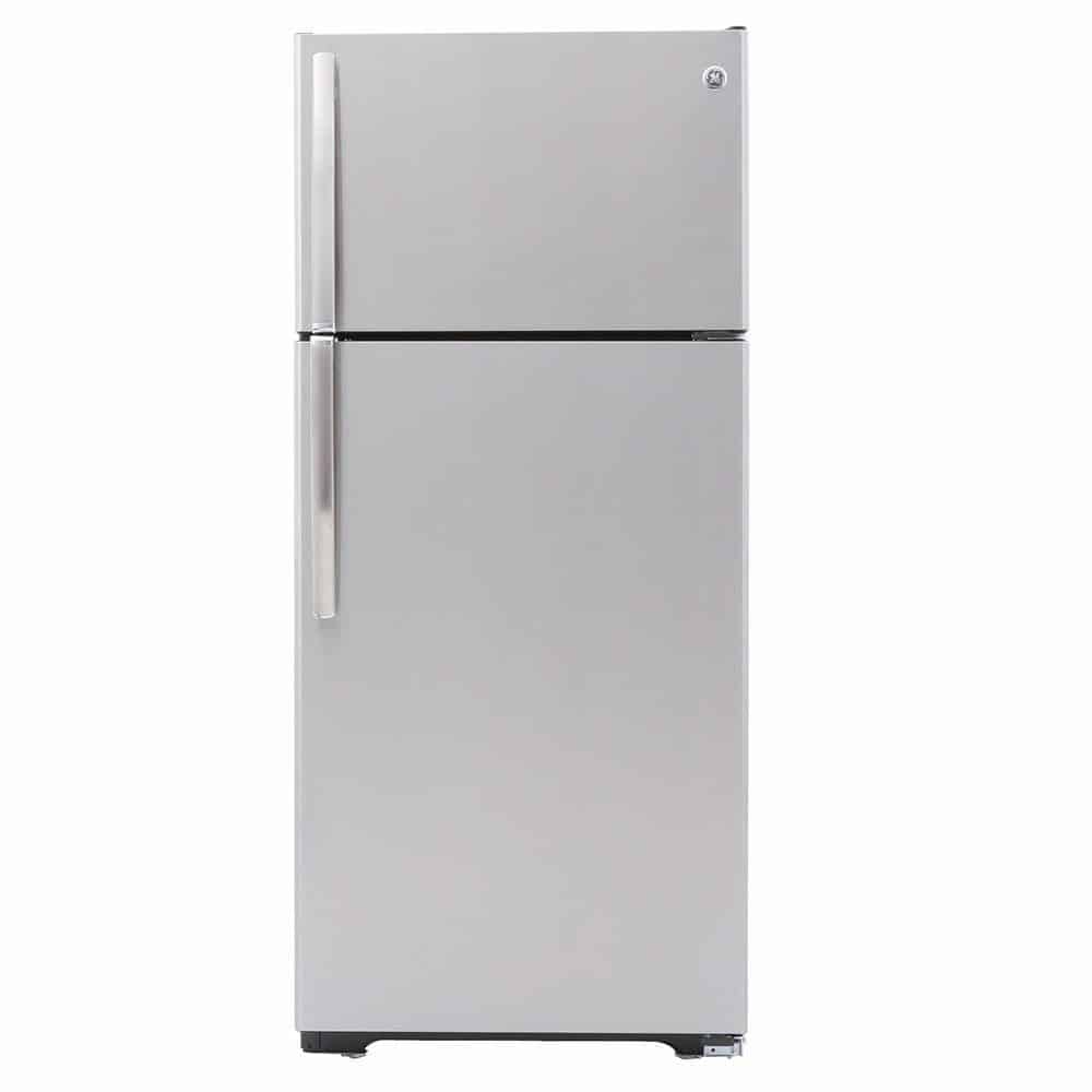 Stainless steel refrigerator with a freezer located at the top part.