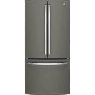Dark gray refrigerator with a smudge-proof feature.