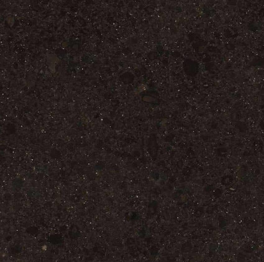 This dark quartz countertop is stain resistant and durable.
