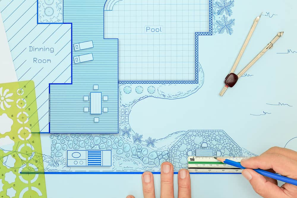 Deck and landscape plan blueprint drawing