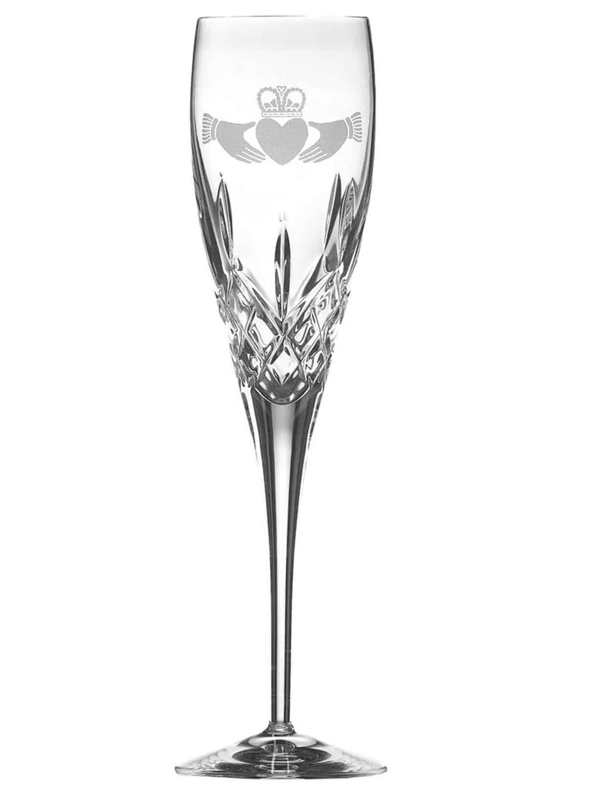 Crafted flute glass with detailed diamond cuts.