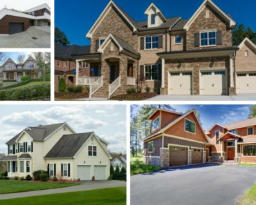 Photo collage showing 5 different types of garages