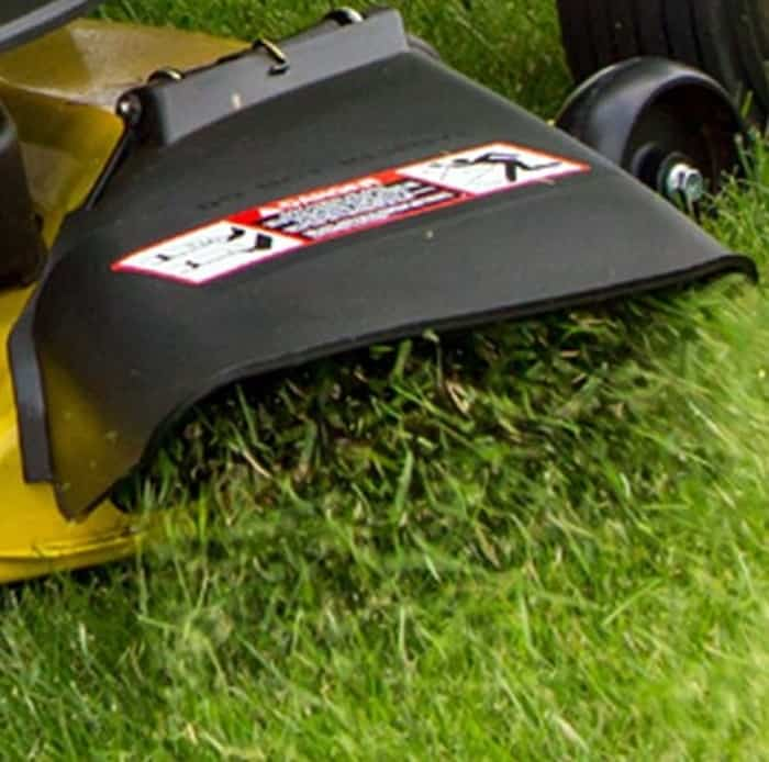 Discharge location replacement for lawn mowers.