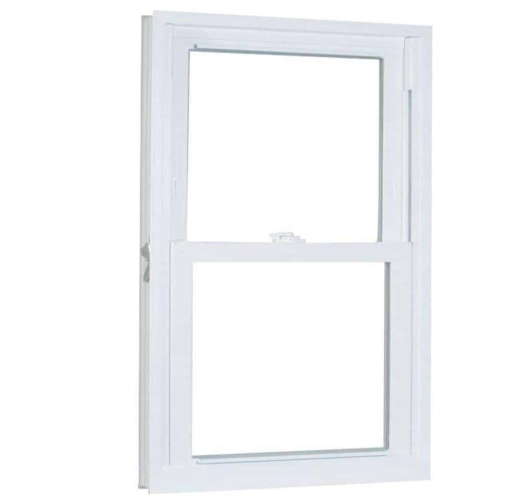 Double-hung, white vinyl window with a decorative exterior.