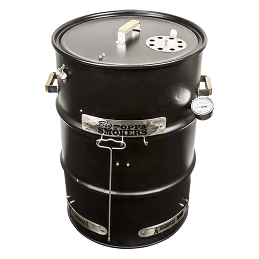 Drum smokers made out of steel black drums.