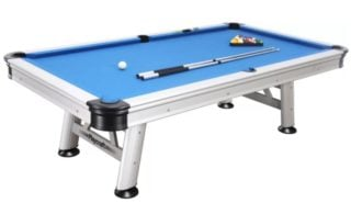 Electric blue pool table with aluminum frame.