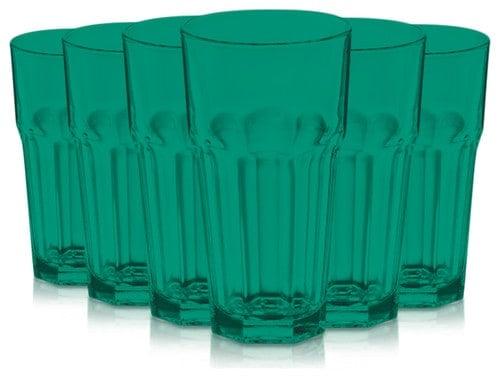 A set of Emerald Green tumbler glasses.