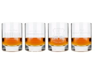 Decorative bar glasses with detailed and creative designs.