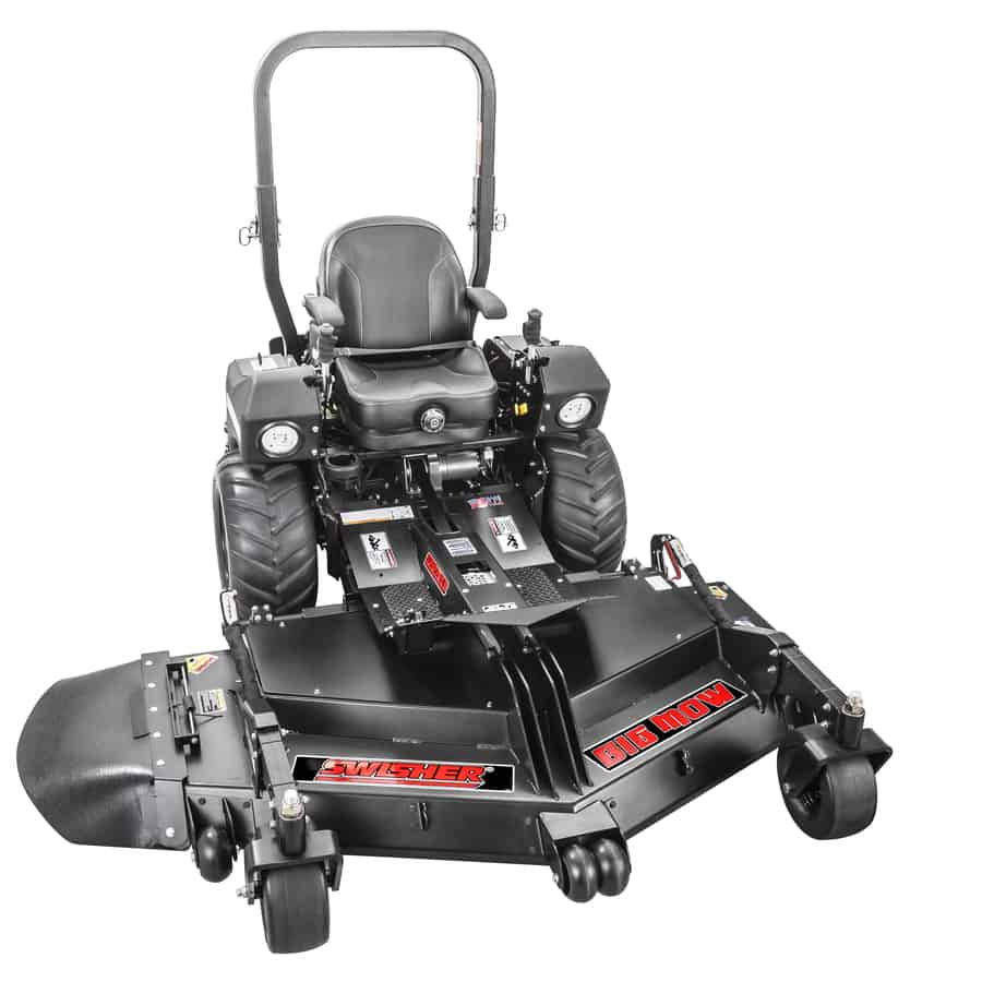Dual hydrostatic 66-inch zero-turn lawn mower with LED headlights and heavy-duty commercial-grade cast-iron blade.