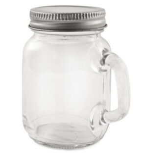 Farmhouse-style glass with a steel lid and a strong handle.
