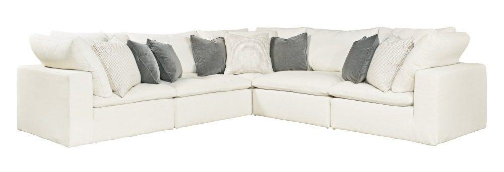 5-piece sectional sofa with bright white waltz fabric and foam padding.